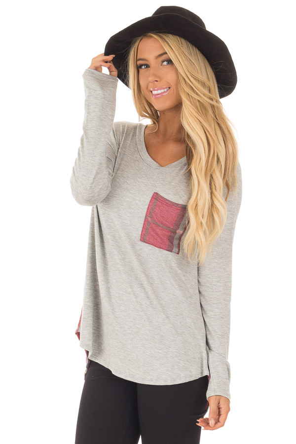 Heather Grey Long Sleeve Tee with Burgundy Plaid Contrast front close up