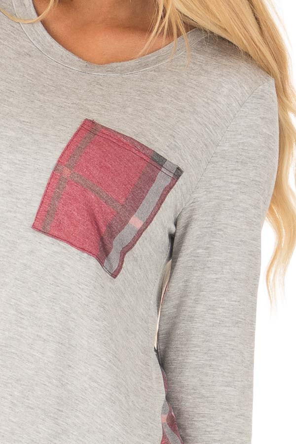 Heather Grey Long Sleeve Tee with Burgundy Plaid Contrast detail