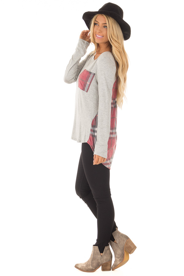 Heather Grey Long Sleeve Tee with Burgundy Plaid Contrast side full body