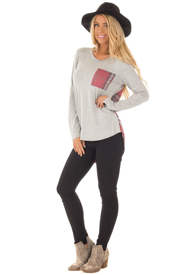 Heather Grey Long Sleeve Tee with Burgundy Plaid Contrast front full body
