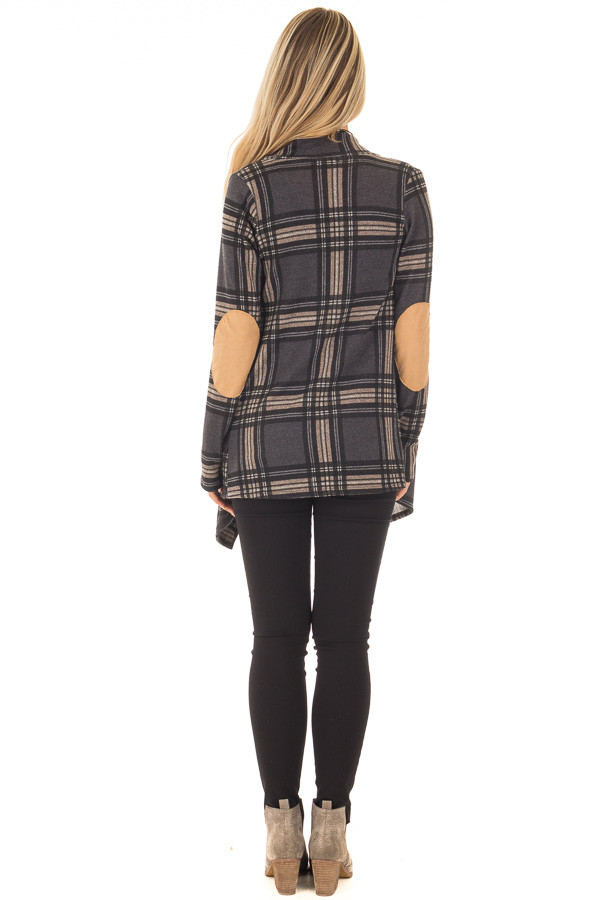 Charcoal Plaid Cardigan with Faux Suede Elbow Patches back full body