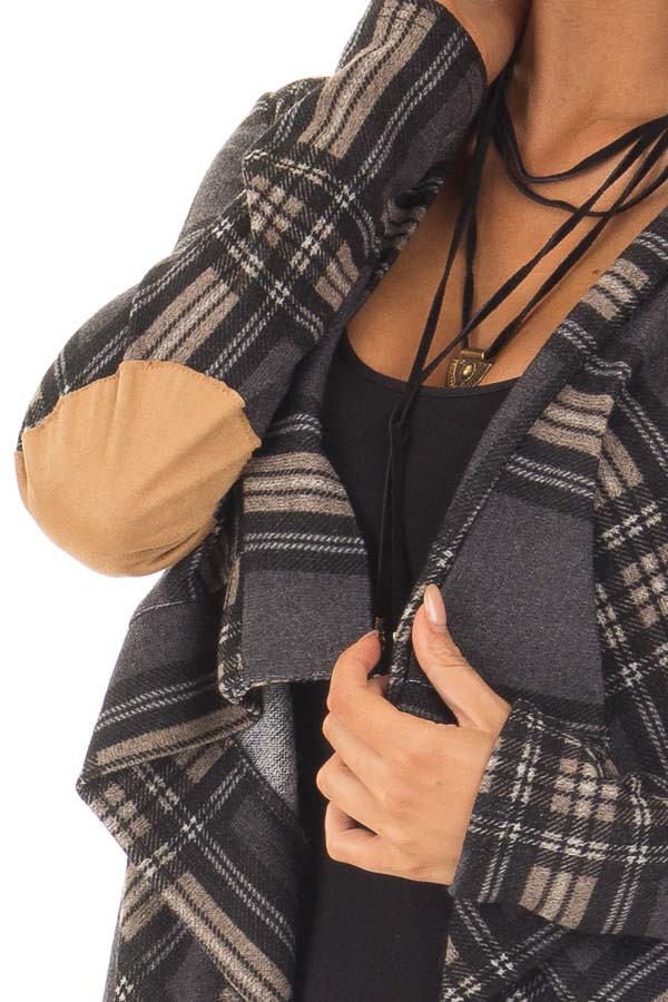 Charcoal Plaid Cardigan with Faux Suede Elbow Patches detail