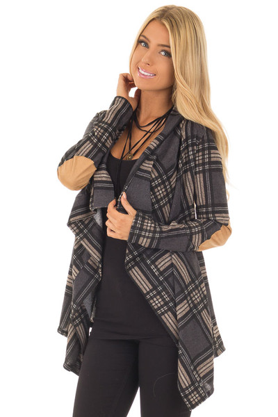 Charcoal Plaid Cardigan with Faux Suede Elbow Patches front close up