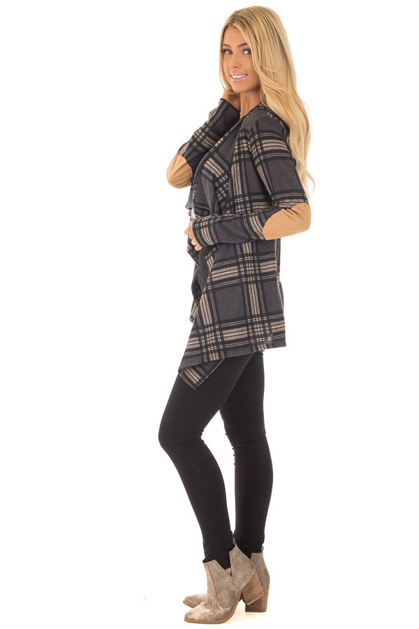 Charcoal Plaid Cardigan with Faux Suede Elbow Patches side full body