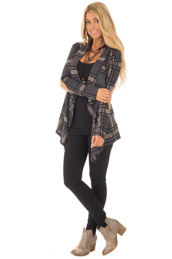 Charcoal Plaid Cardigan with Faux Suede Elbow Patches front full body