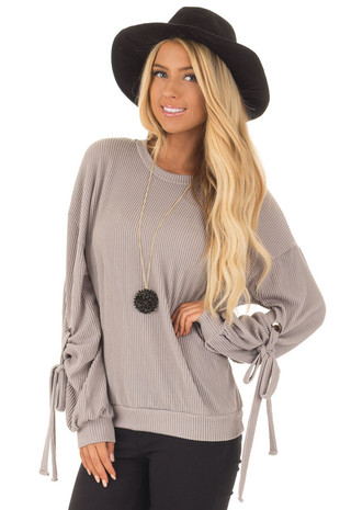 Slate Grey Ribbed Knit Top with Sleeve Tie Detail front close up