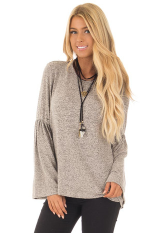 Taupe Two Tone Knit Top with Bell Sleeves front close up