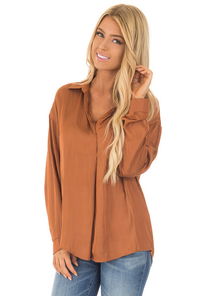 Bronze Silky Split Neck Long Sleeve Blouse front close up