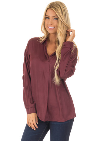 Deep Plum Silky Split Neck Long Sleeve Blouse front close up