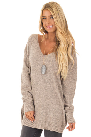 Taupe Two Tone Knit Sweater with Tie Detail front closeup