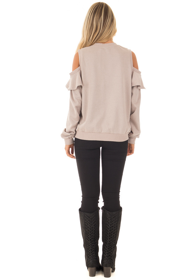 Taupe Cold Shoulder Jacket with Ruffle back full body