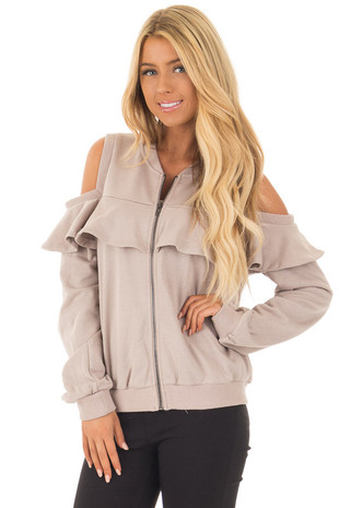 Taupe Cold Shoulder Jacket with Ruffle front closeup