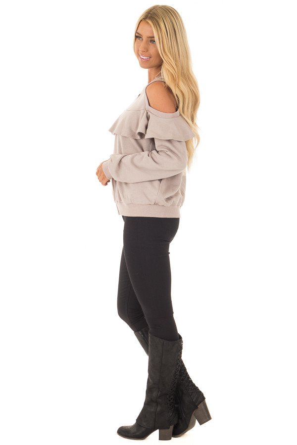 Taupe Cold Shoulder Jacket with Ruffle side full body