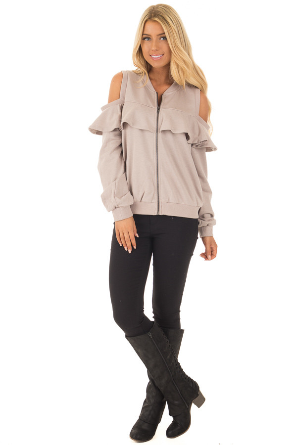 Taupe Cold Shoulder Jacket with Ruffle front full body