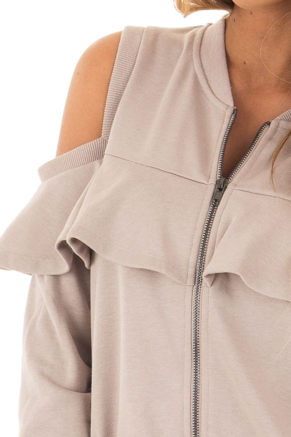 Taupe Cold Shoulder Jacket with Ruffle front detail
