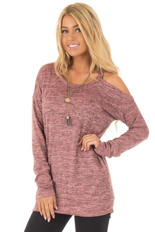 Mauve Two Tone Cold Shoulder Sweater front closeup