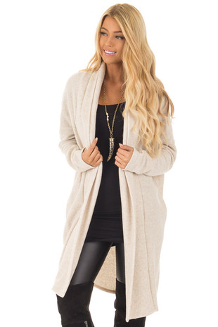 Oatmeal Long Sleeve Cardigan front closeup
