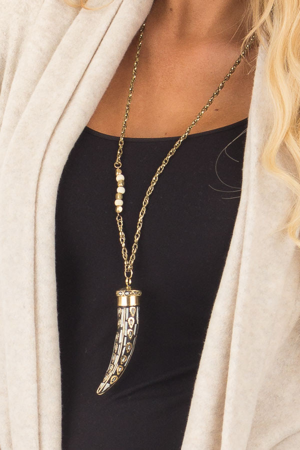 Gold and Black Tooth Necklace with Beads front detail