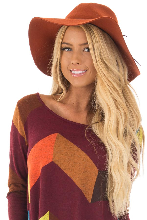 Rust Western Floppy Hat with Tie Detail front closeup