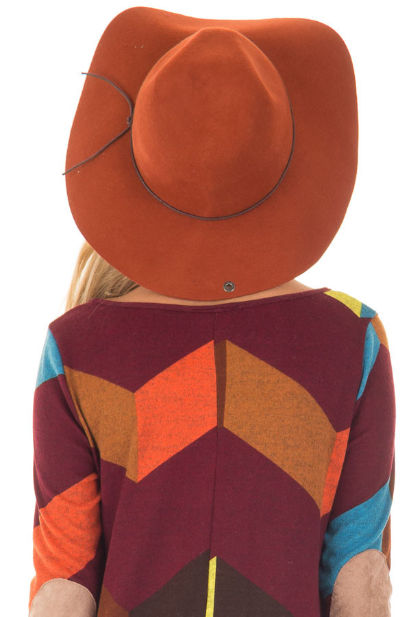 Rust Western Floppy Hat with Tie Detail back closeup