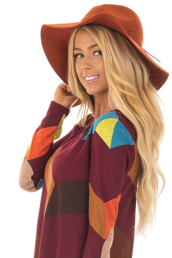 Rust Western Floppy Hat with Tie Detail side closeup