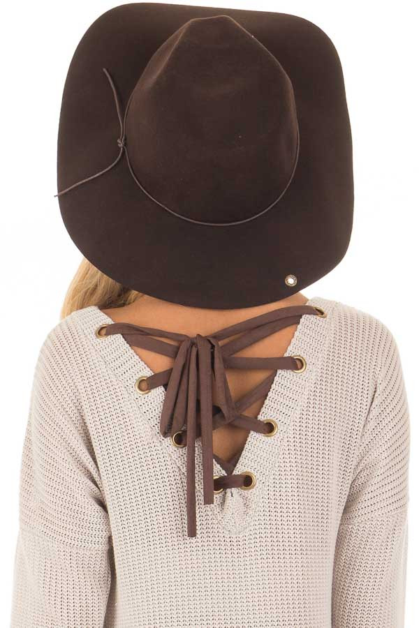 Brown Western Floppy Hat with Tie Detail back