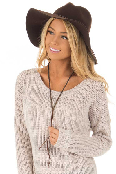 Brown Western Floppy Hat with Tie Detail front