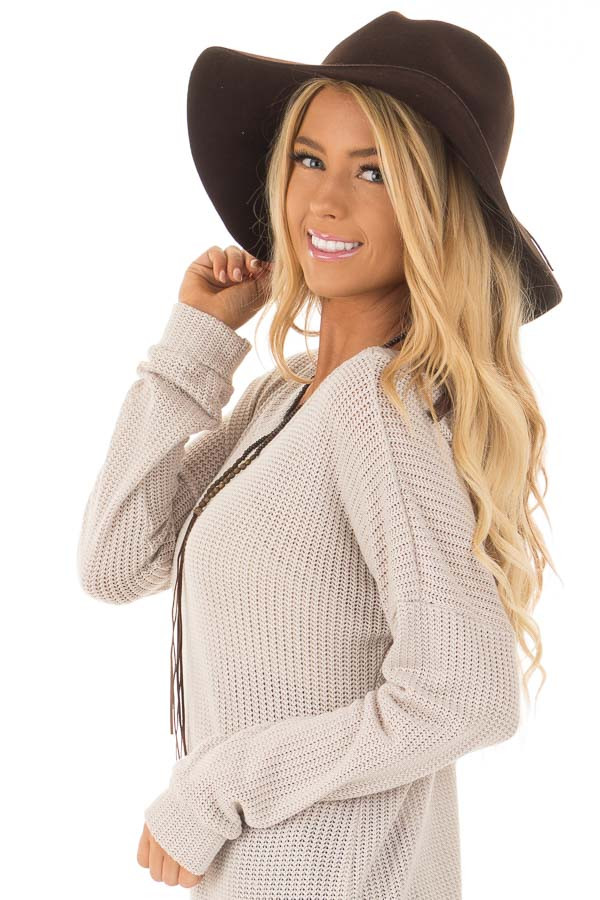 Brown Western Floppy Hat with Tie Detail side