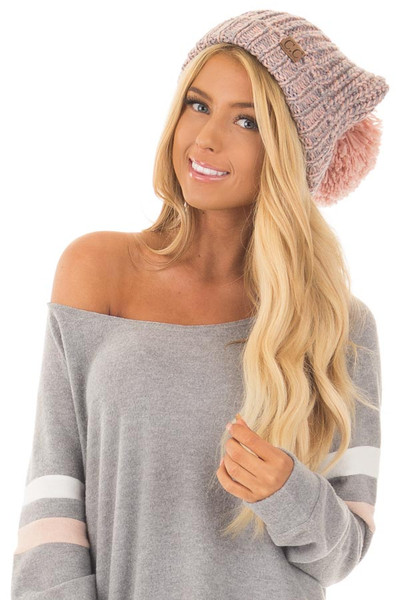Blush and Grey Knit Beanie with Pom Pom front