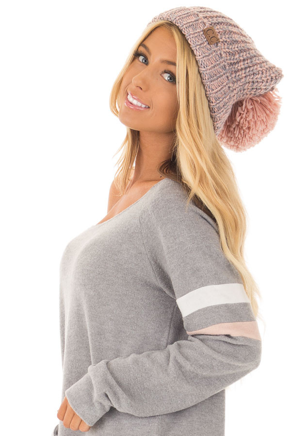 Blush and Grey Knit Beanie with Pom Pom side
