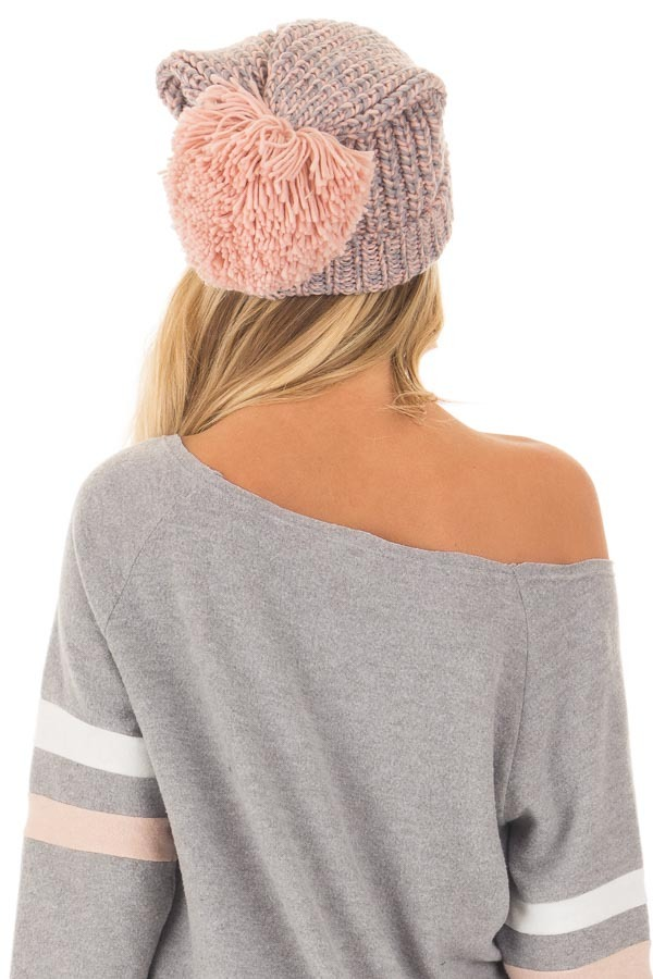Blush and Grey Knit Beanie with Pom Pom back