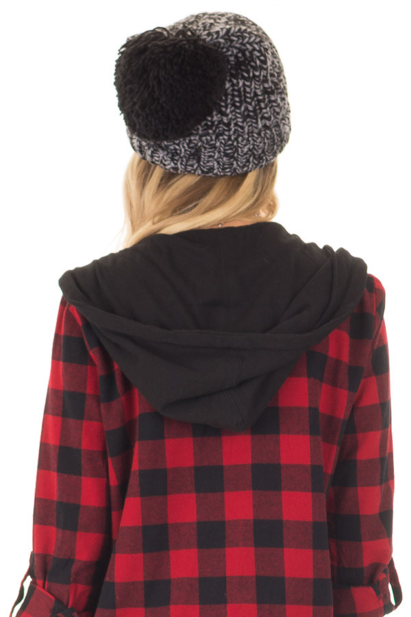 Black and Grey Knit Beanie with Pom Pom back