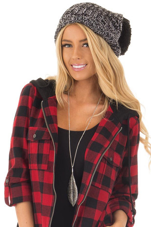 Black and Grey Knit Beanie with Pom Pom front