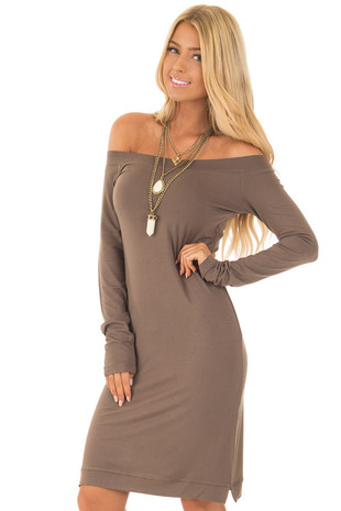 Olive Off The Shoulder Long Sleeve Dress front closeup