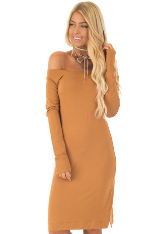 Mustard Off The Shoulder Long Sleeve Dress front closeup
