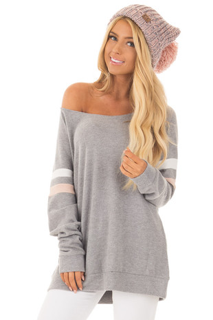 Grey Super Soft Peek A Boo Shoulder Color Block Sleeve Top front close up