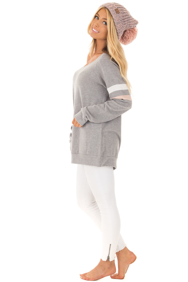 Grey Super Soft Peek A Boo Shoulder Color Block Sleeve Top side full body
