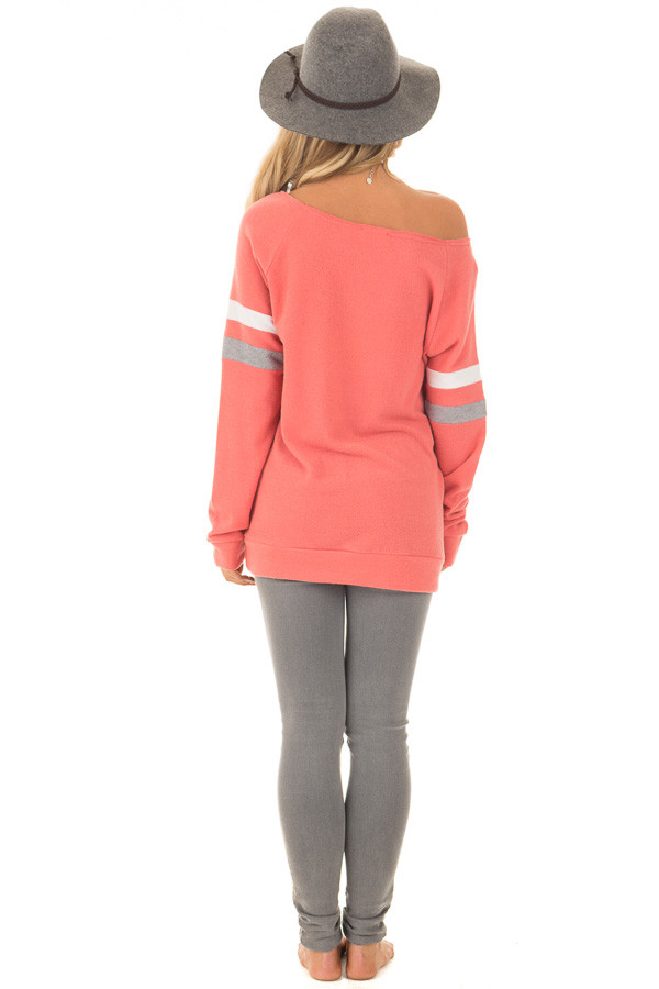 Coral Super Soft Peek A Boo Shoulder Color Block Sleeve Top back full body