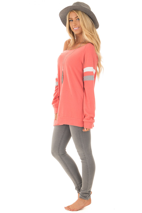 Coral Super Soft Peek A Boo Shoulder Color Block Sleeve Top side full body