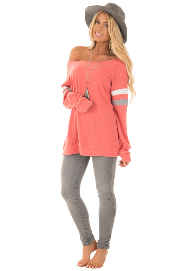 Coral Super Soft Peek A Boo Shoulder Color Block Sleeve Top front full body