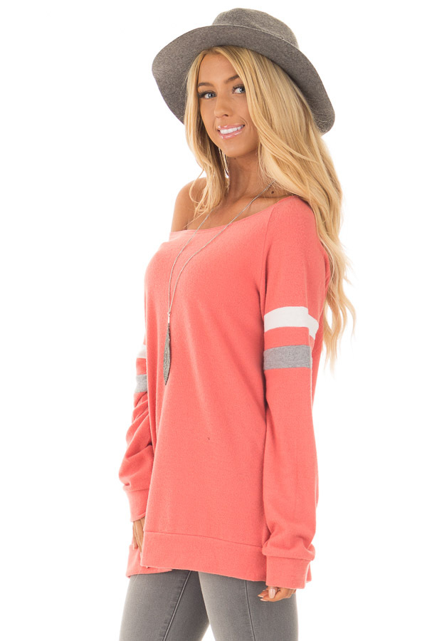 Coral Super Soft Peek A Boo Shoulder Color Block Sleeve Top side close up