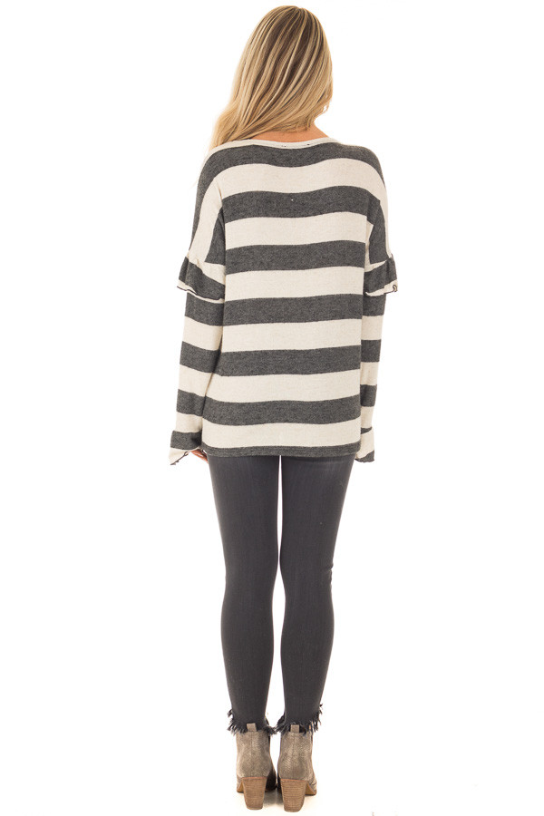 Charcoal and Off White Striped Sweater with Ruffles back full body
