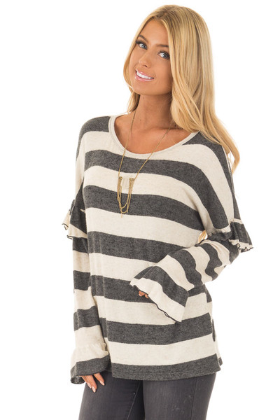 Charcoal and Off White Striped Sweater with Ruffles front close up