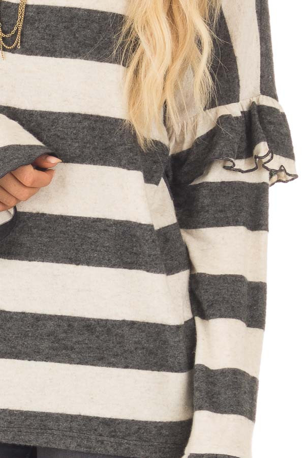 Charcoal and Off White Striped Sweater with Ruffles detail
