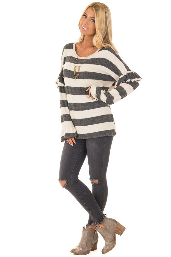 Charcoal and Off White Striped Sweater with Ruffles front full body