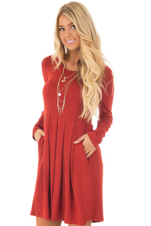 Rust Jersey Knit Long Sleeve Dress with Pockets front close up