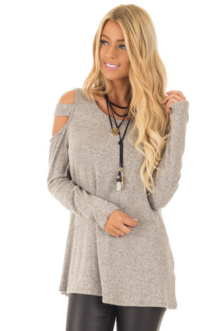 Taupe Two Tone Cold Shoulder Sweater front close up