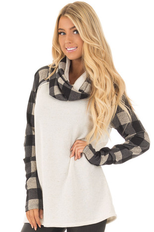 Oatmeal Cowl Neck Sweater with Black Plaid Contrast front close up