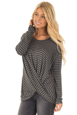 Olive Striped Long Sleeve Tee with Crossover Hemline front close up