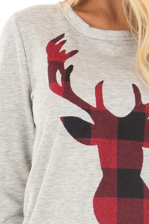Heather Grey Top with Red Plaid Deer Print detail